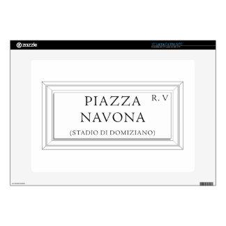 Piazza Navona, Rome Street Sign Laptop Skins