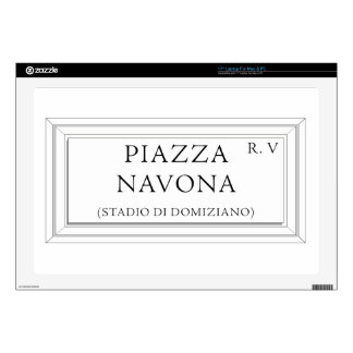 Piazza Navona, Rome Street Sign Laptop Skin
