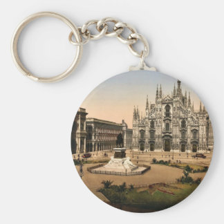 Piazza of the cathedral, Milan, Italy classic Phot Keychain