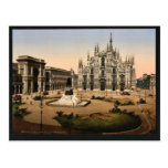 Piazza of the cathedral, Milan, Italy classic Phot Postcard