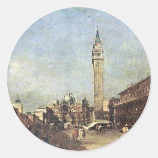 Piazza San Marco A Venezia. By Guardi Francesco Round Stickers
