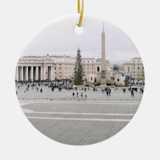 Piazza San Pietro Double-Sided Ceramic Round Christmas Ornament