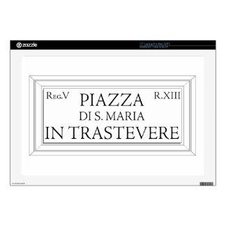 Piazza Santa Maria in Trastevere, Rome Street Sign Laptop Decal