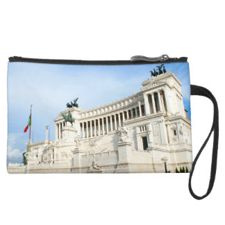 Piazza Venezia in Rome during rush hour Suede Wristlet Wallet