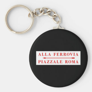 Piazzale Roma, Venecia, placa de calle italiana Llavero Redondo Tipo Pin