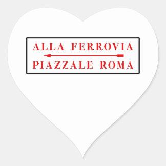 Piazzale Roma, Venecia, placa de calle italiana Pegatina Corazon