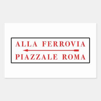 Piazzale Roma, Venice, Italian Street Sign Rectangular Sticker