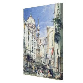 Piazzetta Riario Sforza, 1849 (w/c on paper) Canvas Print