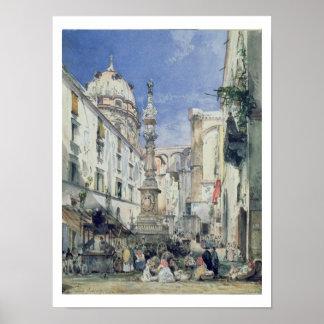 Piazzetta Riario Sforza, 1849 (w/c on paper) Poster