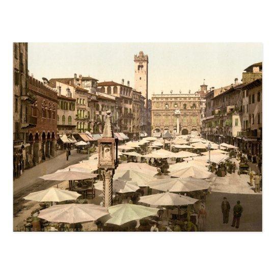 Piazzi delle Erbe, Verona, Italy Postcard
