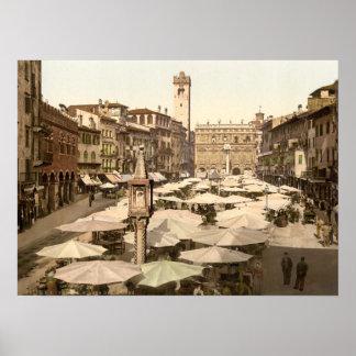 Piazzi delle Erbe, Verona, Italy Poster