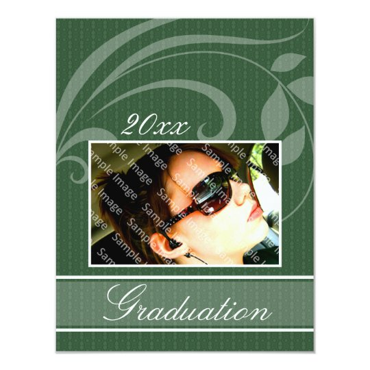 Pic Green Open House Party Graduation Invitations