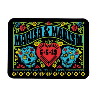 Picado Style Skulls Banner Save the Date Magnet