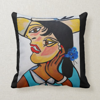 PICASSO BY NORA  YELLOW HAT THROW PILLOW