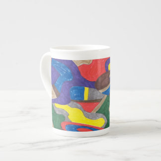 """""""Picasso Cat"""" Abstract Art Tea Cup"""