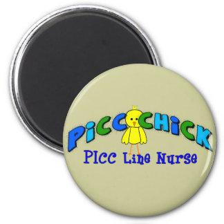 "PICC Chick  ""PICC LINE NURSE"" BLUE Artsy Design 2 Inch Round Magnet"