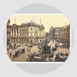 Piccadilly Circus, London, England rare Photochrom Classic Round Sticker