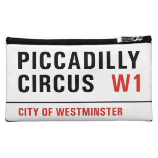 Piccadilly Circus, London Street Sign Makeup Bag