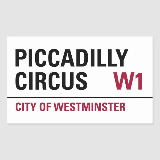 Piccadilly Circus Sign (pack of 4) Rectangular Sticker