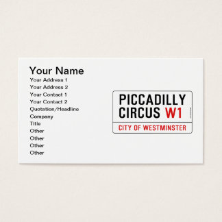 Piccadilly Circus Street Sign Business Card