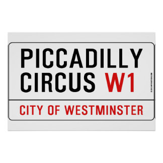 Piccadilly Circus Street Sign Print