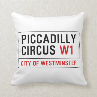Piccadilly Circus Street Sign Throw Pillow