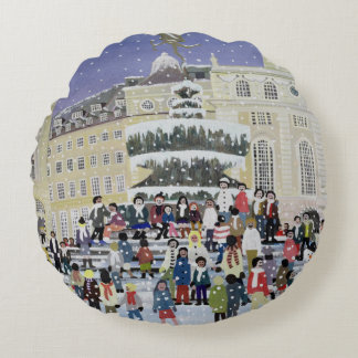 Piccadilly Snow Scene Round Pillow