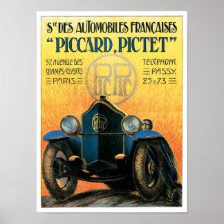 Piccard Pictet Automobile Vintage Ad Art Poster