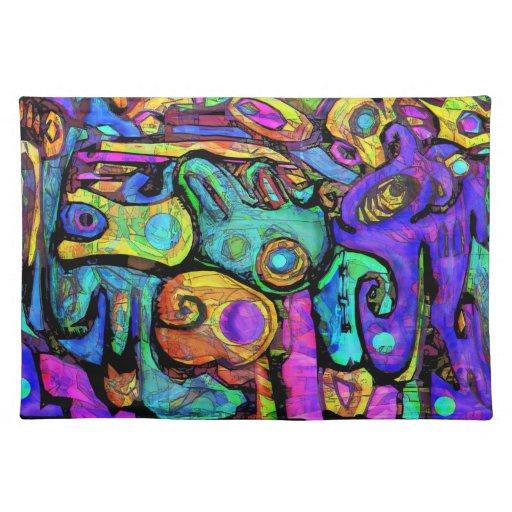 piccasso con el placemat del color manteles