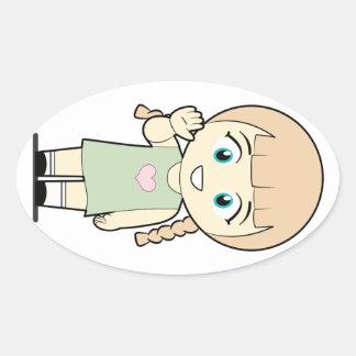 Piccola_Simo  Hello Oval Sticker