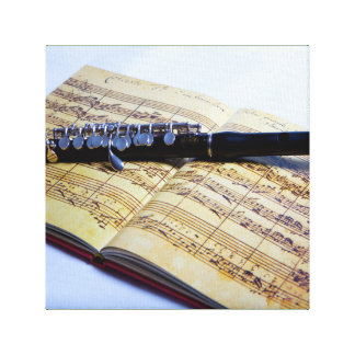 Piccolo on sheet music custom canvas print