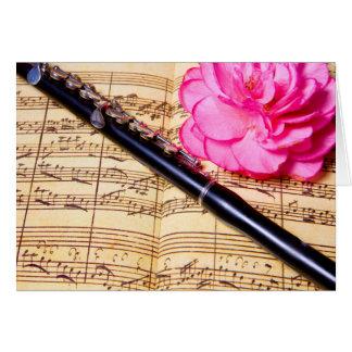Piccolo on sheet music custom note card