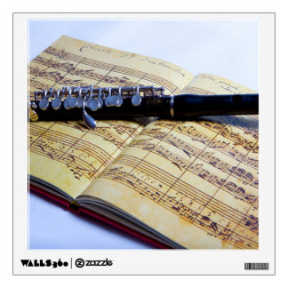 Piccolo on sheet music custom wall decal