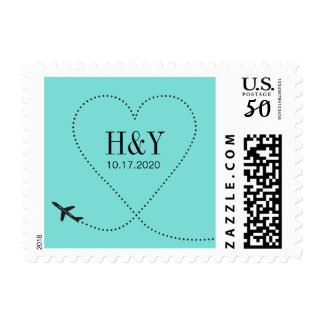PICK A BKG COLOR Airplane Destination Wedding Postage