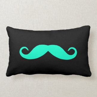 Pick A Color Mustache on Black Throw Pillows