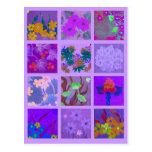 Pick a Pack of Purple Posies Art Miniature Post Cards