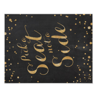 Pick a seat chalk and glitter wedding sign poster
