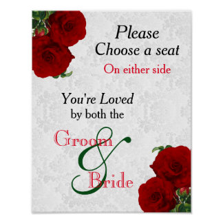 Pick a Seat - Deep Red Rose Wedding Poster