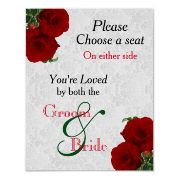 Art Themed Pick a Seat - Deep Red Rose Wedding Poster
