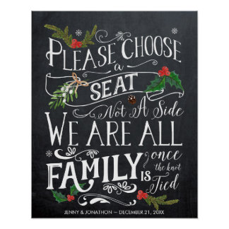 pick a seat not a side christmas wedding sign