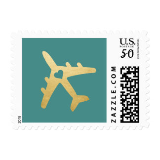 PICK ANY BKG COLOR! Airplane Heart Destination Postage