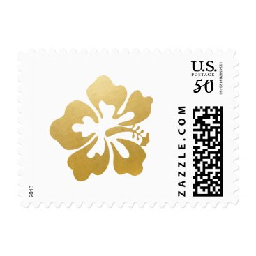 Beach Themed PICK ANY BKG COLOR Gold Hibiscus Flower Tropical Postage