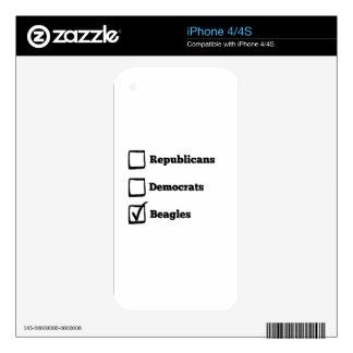 Pick Beagles! Political Beagle Print iPhone 4S Decal