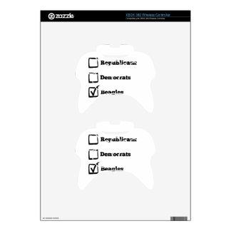 Pick Beagles! Political Beagle Print Xbox 360 Controller Decal