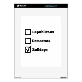 Pick Bulldogs! Political Election Dog Print Decals For The iPad