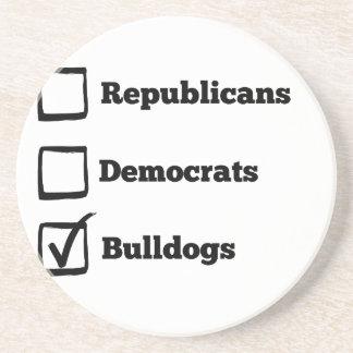Pick Bulldogs! Political Election Dog Print Drink Coaster