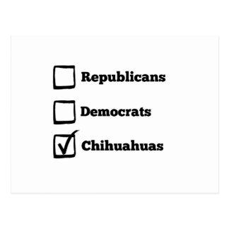 Pick Chihuahuas! Political Election Chihuahua Postcard