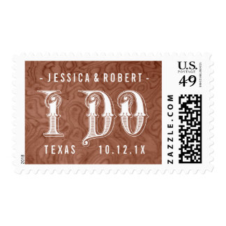Pick Color Wood Country Western I Do Wedding Stamp