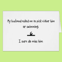 Pick Husband or Swimming Card