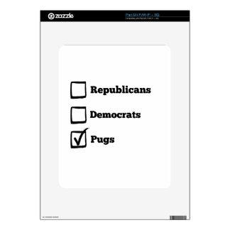Pick Pugs! Political Election Pug Print Skin For iPad